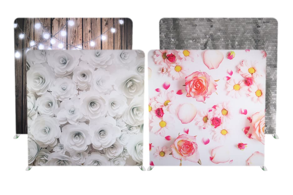 Photo Booth Backdrops that are most commonly used at weddings around Chicago