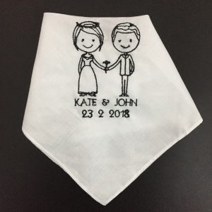 Wedding embroidered handkerchief are great party favors for weddings