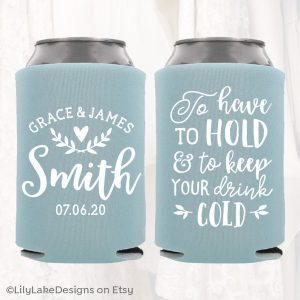 Wedding favors - personalized can koozies