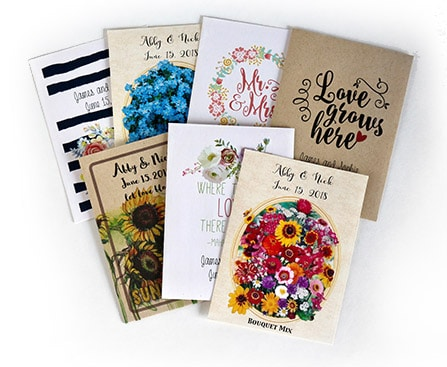 Wedding photo favors - flowers seed packs